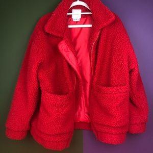 Red fuzzy I am gia coat oversized fit
